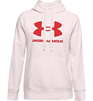 Under Armour Rival Fleece Logo Hoodie - felpa con cappuccio - donna, Light Pink/Red