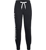 Under Armour Rival Fleece Shine - Trainingshose - Damen, Black/White