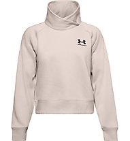 Under Armour Rival Fleece Wrap Neck - Pullover - Damen, Pink