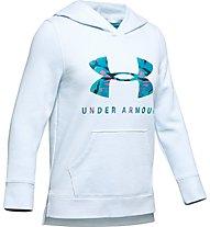 Under Armour Rival Logo - felpa con cappuccio - ragazza, White/Light Blue
