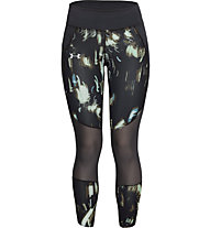 Under Armour Speedpocket Run Printed Crop - pantaloni running - donna, Black/Green