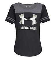 Under Armour Sportstyle Baseball - T-shirt fitness - donna, Black/Grey