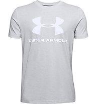 Under Armour Sportstyle Logo - T-Shirt - Kinder, Light Grey/White