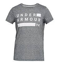 Under Armour Threadborne Graphic Twist Training SS - T-Shirt - Damen, Grey/White