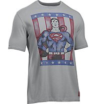 Under Armour Transform Yourself Retro Superman Herren Fitness T-Shirt Kurzarm, Grey