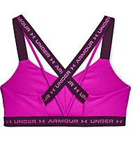 Under Armour UA Crossback Low - Sport-BH - Damen, Pink/Purple