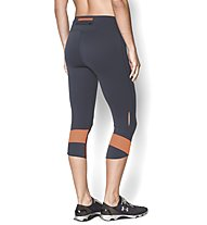 Under Armour UA Fly-By Compression Damen-Capri, Phantom Grey/Light Orange