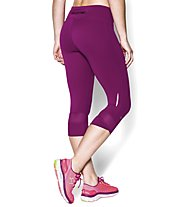 Under Armour UA Fly-By Compression Capri - Pantaloni Corti, Aubergine