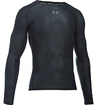 Under Armour UA HeatGear Armour Printed Compression Maglia a maniche lunghe fitness, Black