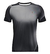 Under Armour UA HG Rush 2.0 Print SS - T-shirt fitness - uomo, Black/Grey