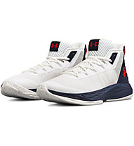 Under Armour UA Jet Mid - Basketballschuhe - Herren, White/Blue/Red
