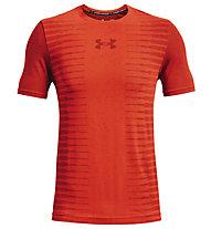 Under Armour UA Seamless Wordmark SS - T-shirt fitness - uomo, Orange