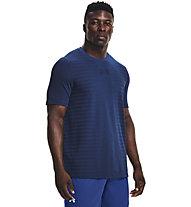 Under Armour UA Seamless Wordmark SS - T-shirt fitness - uomo, Blue