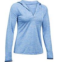 Under Armour UA Tech Henley Felpa con cappuccio fitness donna, Light Blue