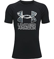 Under Armour UA Tech™ Hybrid PRT Fill SS - T-shirt - Kinder, Black/Grey