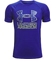 Under Armour UA Tech™ Hybrid PRT Fill SS - T-shirt - Kinder, Dark Blue/Yellow