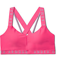 Under Armour UA Wordmark Strappy Sportlette (Cup B) - reggiseno sportivo supporto leggero, Pink
