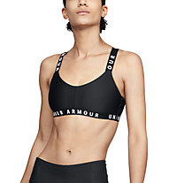 Under Armour UA Wordmark Strappy Sportlette (Cup B) - reggiseno sportivo supporto leggero, Black