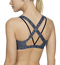 Under Armour UA Wordmark Strappy Sportlette (Cup B) - reggiseno sportivo supporto leggero, Dark Grey