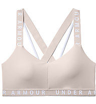 Under Armour UA Wordmark Strappy Sportlette (Cup B) - reggiseno sportivo supporto leggero, Light Pink