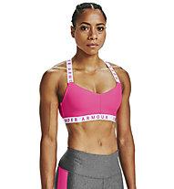Under Armour UA Wordmark Strappy Sportlette (Cup B) - Sport BH leichter Halt, Pink/White