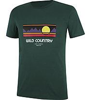 Wild Country Flow M - T-shirt arrampicata - uomo, Dark Green/Red/Violet