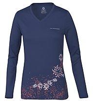 Wild Roses Isadora WR Logo R-Neck Maglia a maniche lunghe Donna, True Blue
