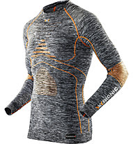 X-Bionic Maglia funzionale manica lunga girocollo Energy Accumulator Evo Melange Shirt Long Sleeves Roundneck, Grey Melange/Orange