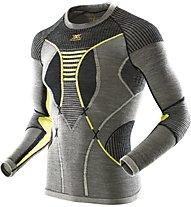 X-Bionic Apani Merino Man UW Shirt LG_SL Round Neck - maglietta tecnica - uomo, Black/Yellow