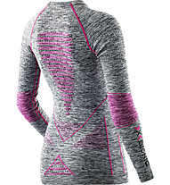X-Bionic Lady Energy Accumulator Evo Melange Shirt Long Sleeves Roundneck langärmliges Damen-Funktionsshirt, Light Grey/Pink