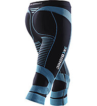 X-Bionic Run Lady Effektor Pant 3/4 - Laufhose - Damen, Black/Light Blue