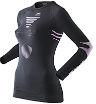 X-Bionic Maglia funzionale a V Ski Touring Evo Lady Shirt LS V-Neck, Black/Pink