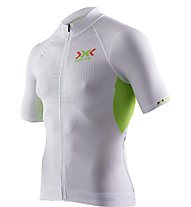 X-Bionic The Trick Shirt Short Sleeves Full Zip, White/Green